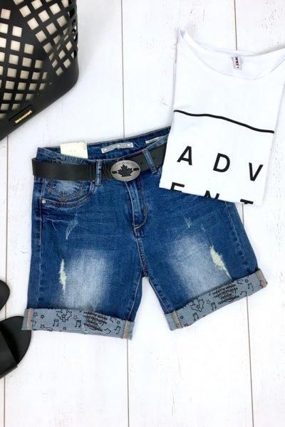Szorty/spodenki jeans + pasek