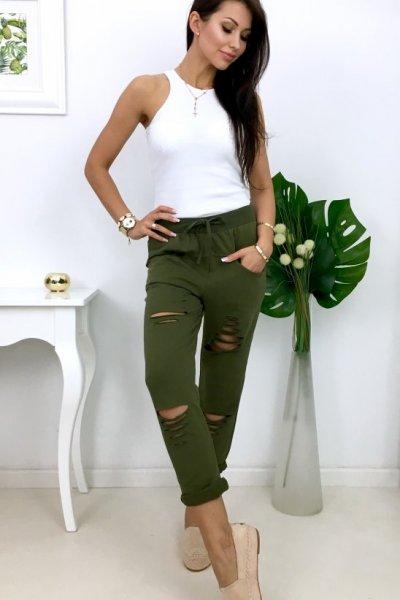 Spodnie dresowe z rozcięciami - khaki