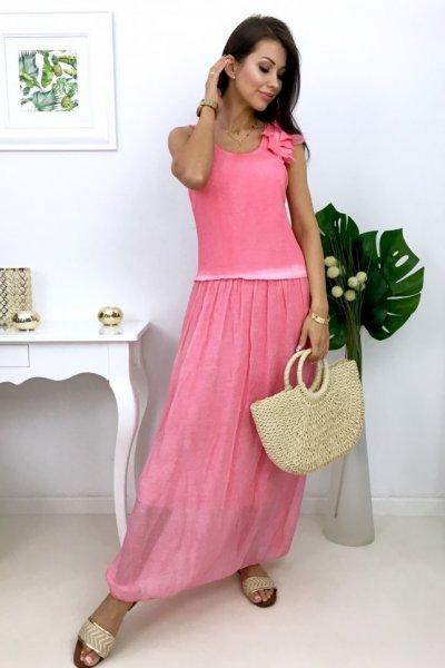 Sukienka ROMANTICA maxi - pink