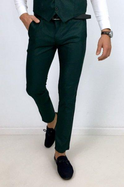Spodnie materiałowe zielone H6