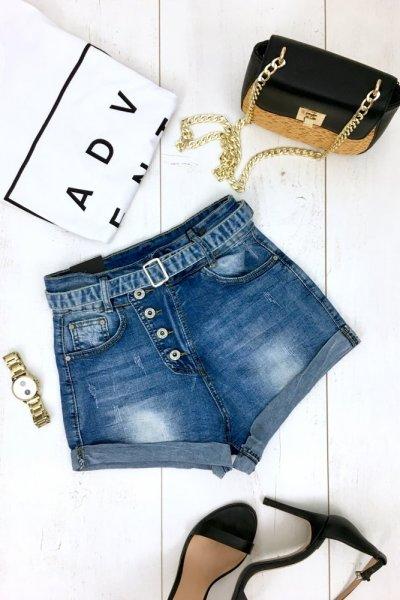 Szorty/spodenki jeansowe + pasek 3 DESY -17056
