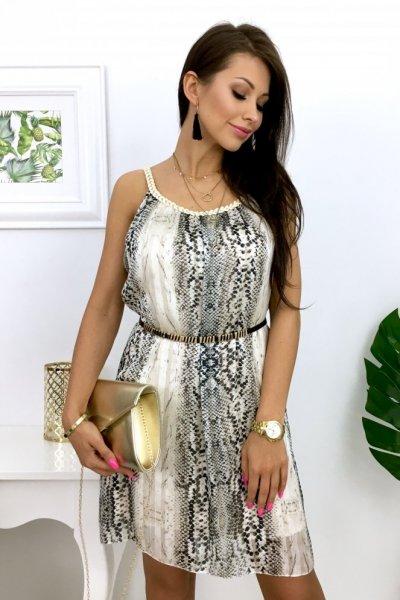 Sukienka SNAKE - ecru/beige