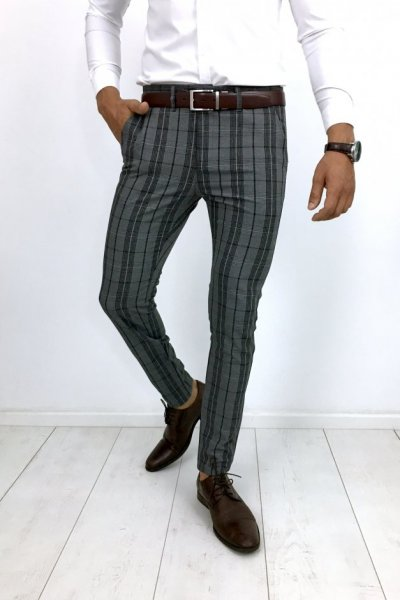 Spodnie materiałowe w kratę H24 SLIM FIT