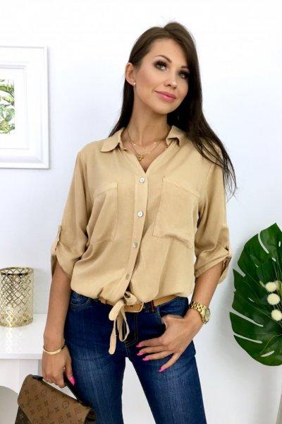 Bluzka koszulowa w RICKY z wiązaniem - camel