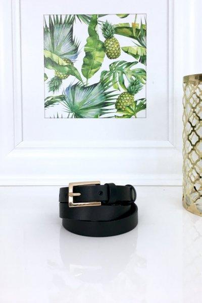 Pasek damski - skórzany 1,5 cm - czarny ze złotą klamerką