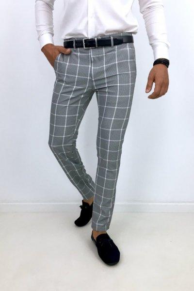 Spodnie materiałowe w kratę szare H25