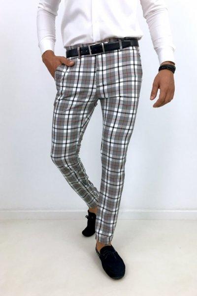 Spodnie męskie materiałowe w kratę H26