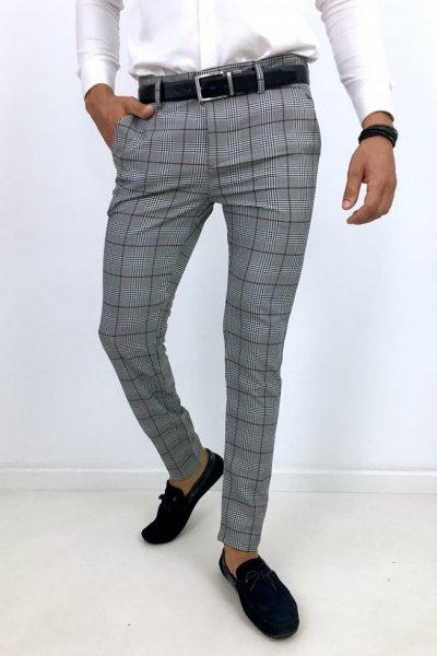 Spodnie materiałowe w kratę H9