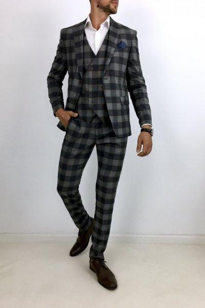 Garnitur męski w kratę H12 Trzyczęściowy - szaro-czarny