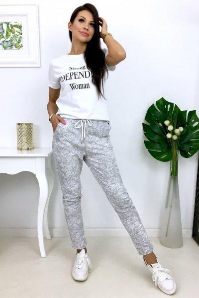 Spodnie dresowe MARMUREK - grey/white