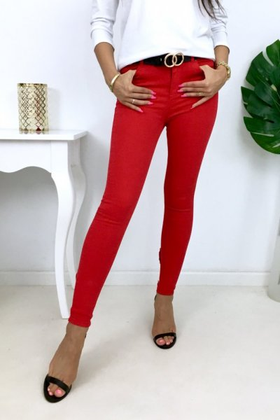 Spodnie jeansy kokardkami - red