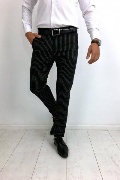 Spodnie materiałowe w paski czarne H28
