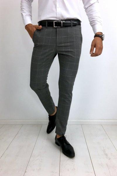 Spodnie materiałowe w pudrową kratę szare H29