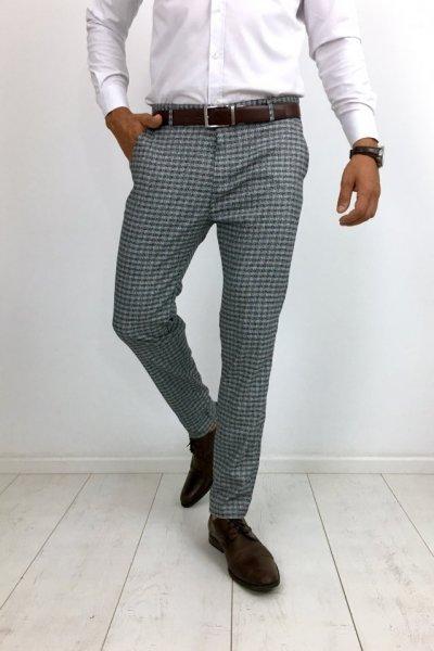 Spodnie materiałowe w kratę jasno szare H30