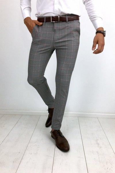 Spodnie materiałowe w kratę bordo H31