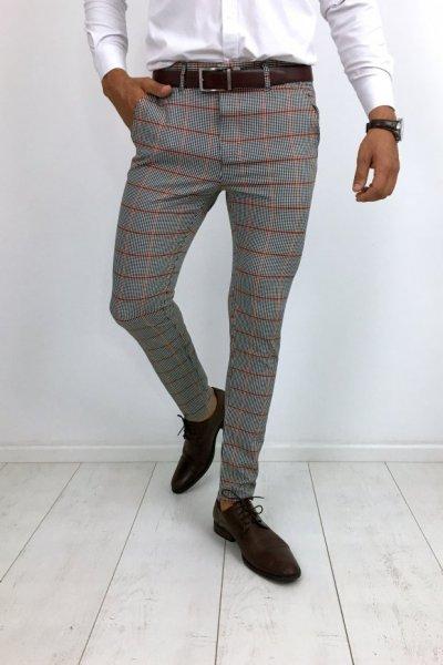 Spodnie materiałowe w kratę pomarańczową H32