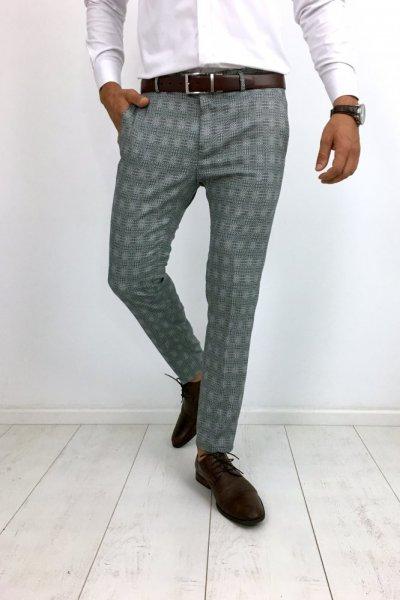 Spodnie materiałowe drobny wzór H34