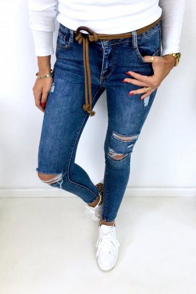 Spodnie jeansy skinny z rudym paskiem sznurkowym - blue ( 3D831)