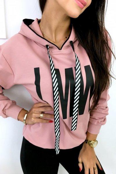 Bluza damska z kapturem MLW - pink