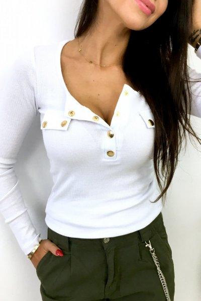 Bluzka z seri BASIC - gold button , dł.rękaw - white