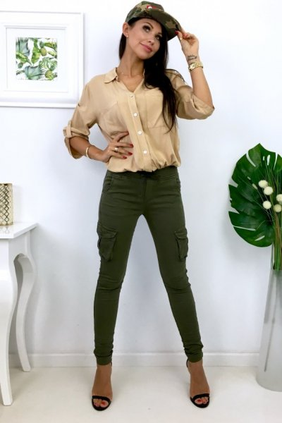 Spodnie damskie typu bojówki - khaki