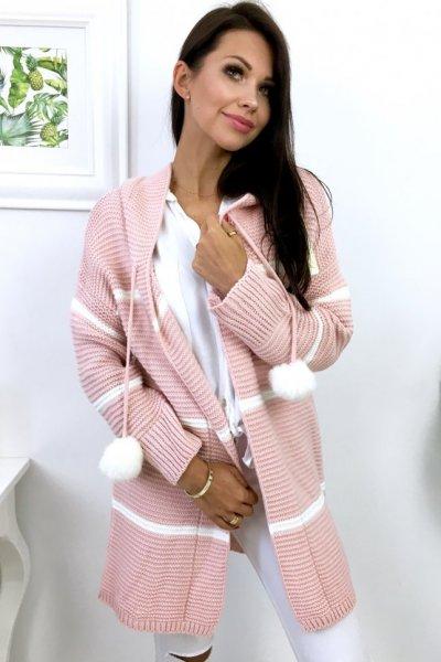Kardigan POPPY - pink/white