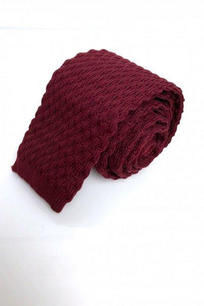 Krawat typu knit bordo