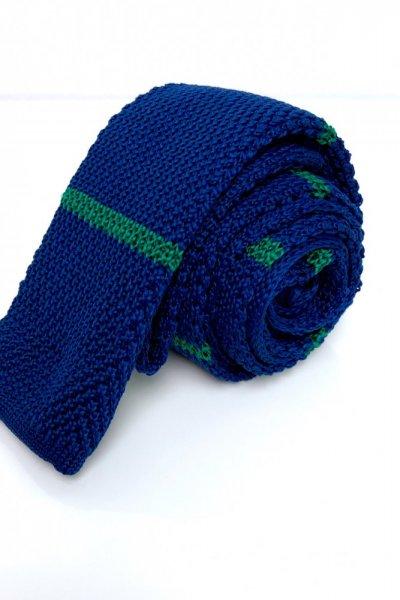 Krawat typu knit granat + zielone paski