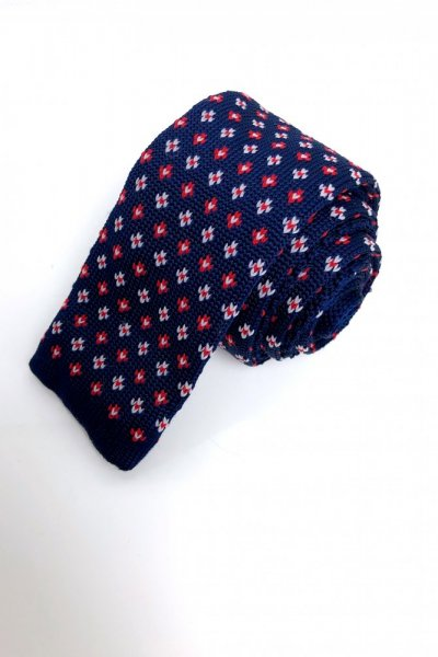 Krawat typu knit granat+ kolorowe kwiaty