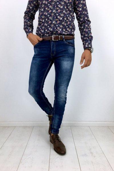 Spodnie jeans z przetarciami TQ1930-1