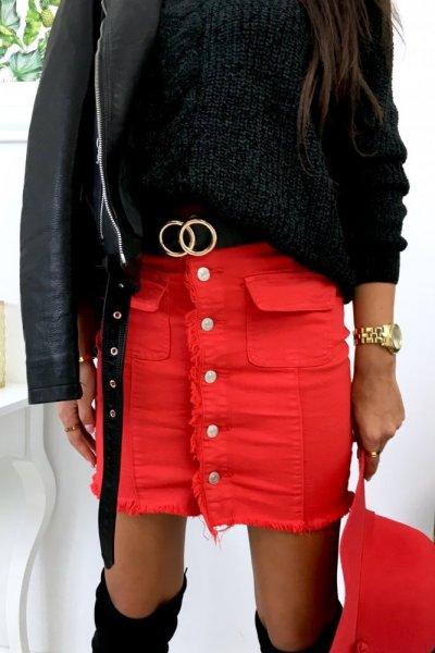 Spódnica jeans ( CK1802-10 ) -red
