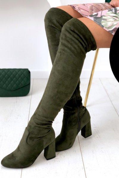 Kozaki za kolano na obcasie - khaki
