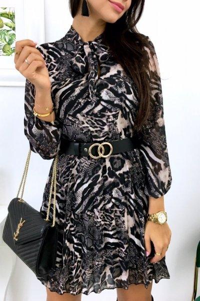 Sukienka wężowy print SNAKE - black/grey