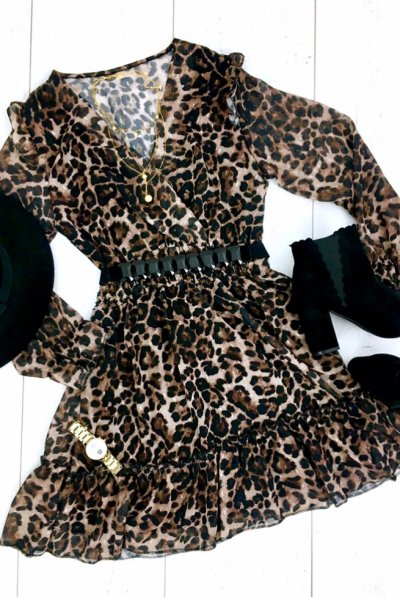 Sukienka w zwierzęcy print a la DROLE