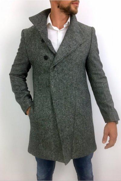Płaszcz męski drobny wzór wysoki kołnierz