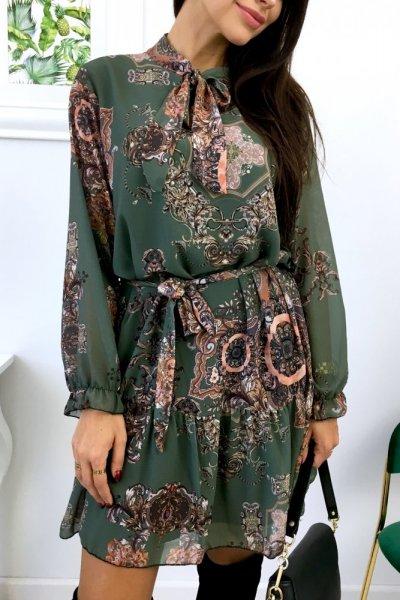 Sukienka we wzory - khaki