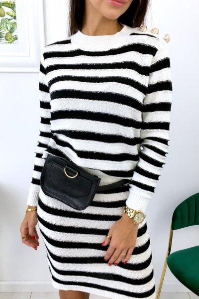 Sweter LEXI w pasy - black/white
