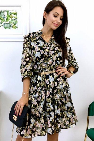 Sukienka DROLE LUX w kwiatowy wzór - black/pink/gold