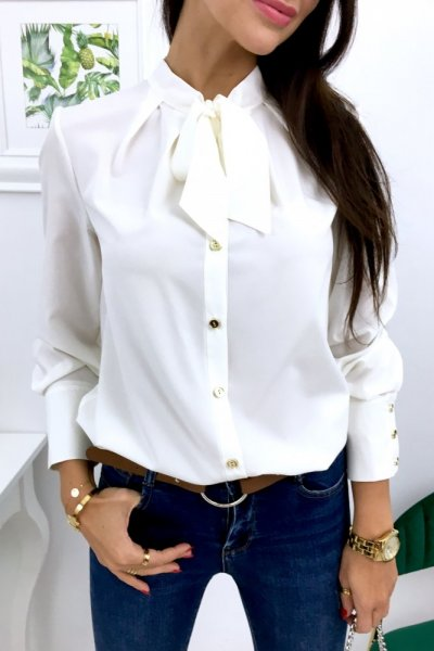 Bluzka koszulowa VIKTORIA z wiązaniem - ecre