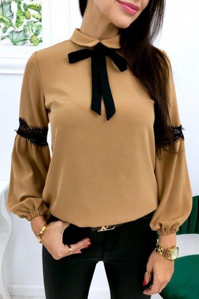 Bluzka NOVA z odpinaną krawatką - camel