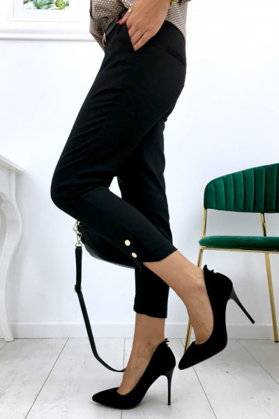 Spodnie cygaretki H8891 button - czarne