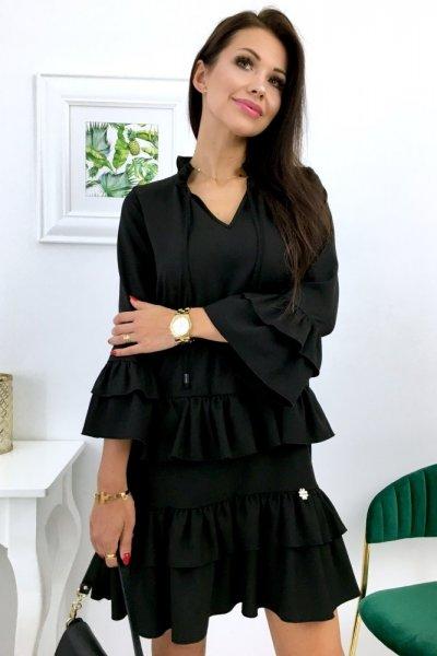 Sukienka LYKKE - stójka falbanki - czarna