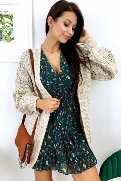 Kardigan/sweter z ażurowym rękawem - beige