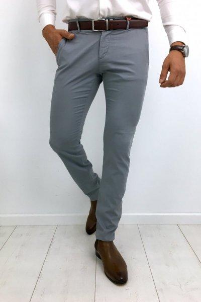Spodnie materiałowe męskie gładkie szare H01