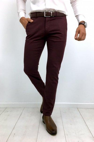 Spodnie męskie materiałowe gładkie bordo H01