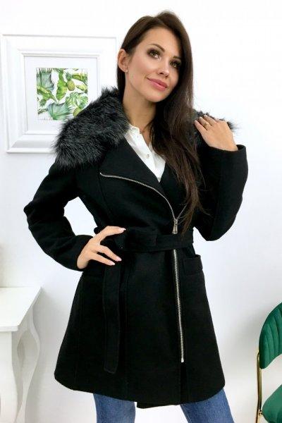 Płaszcz AUTUMN + futerko - czarny