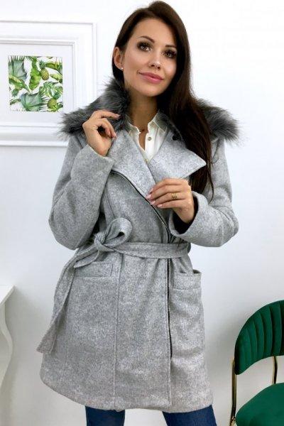 Płaszcz AUTUMN + futerko - szary