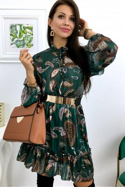 Sukienka LILIANA wzory - green