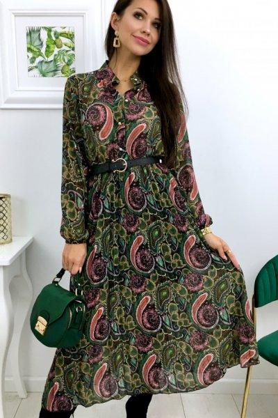 Sukienka szyfon midi wzory - black/pink/green