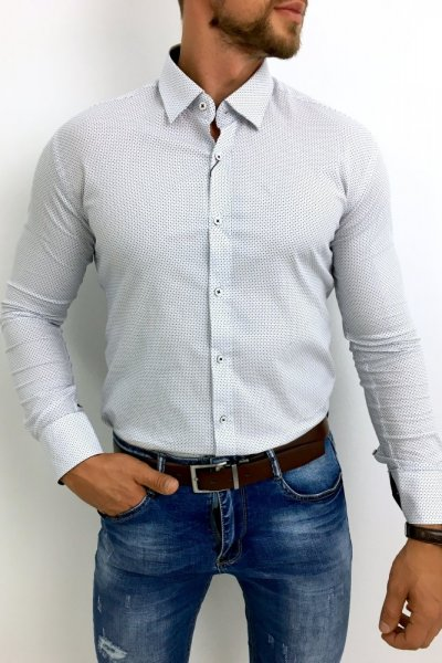 Koszula męska delikatny wzór biała H6